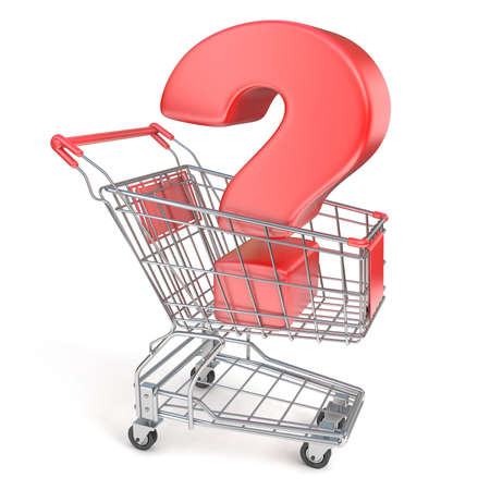 Red question mark inside shopping cart 3D render illustration isolated on white background Stock Photo