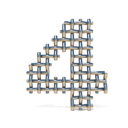 Metal wire mesh font Number 4 FOUR 3D render illustration isolated on white background