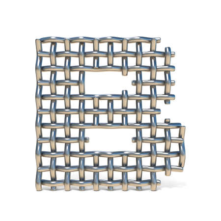 grille: Metal wire mesh font LETTER B 3D render illustration isolated on white background Stock Photo