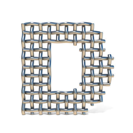 interweaving: Metal wire mesh font LETTER D 3D render illustration isolated on white background