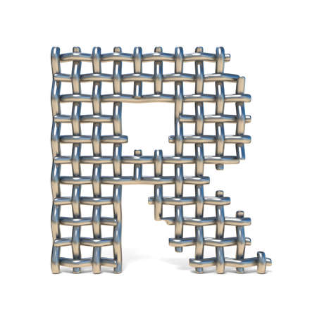 Metal wire mesh font LETTER R 3D render illustration isolated on white background Banco de Imagens