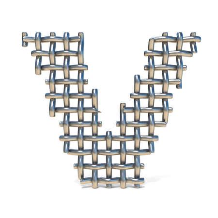 Metall-Drahtgeflecht Schrift BUCHSTABE C 3D Render Illustration ...