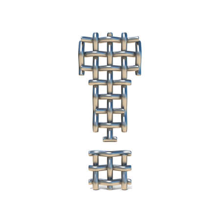 grille: Metal wire mesh font EXCLAMATION MARK 3D render illustration isolated on white background Stock Photo