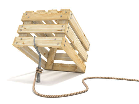 Trap made of wooden crate and rope tide to stick 3D render illustration isolated on white background Фото со стока