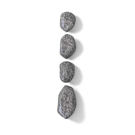 cobble: Font made of rocks LETTER I 3D render illustration isolated on white background Stock Photo