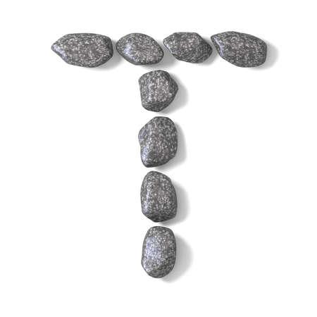 Font made of rocks LETTER T 3D render illustration isolated on white background