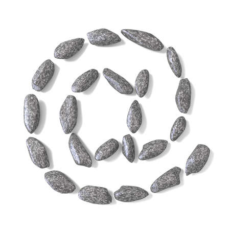 cobble: At sign made of rocks 3D render illustration isolated on white background
