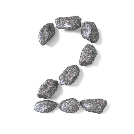 Font made of rocks NUMBER two 2 3D render illustration isolated on white background Stock Photo