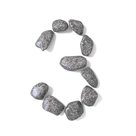 cobble: Font made of rocks NUMBER three 3 3D render illustration isolated on white background