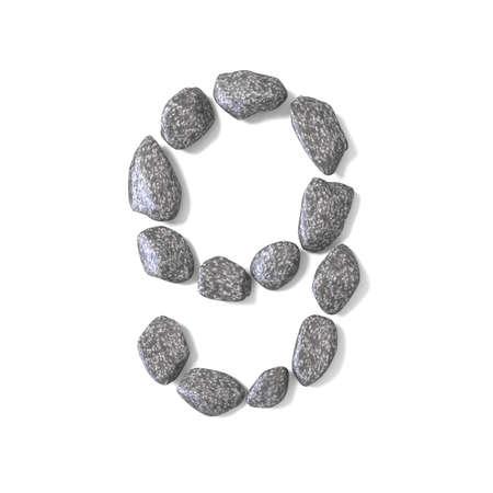 Font made of rocks NUMBER nine 9 3D render illustration isolated on white background