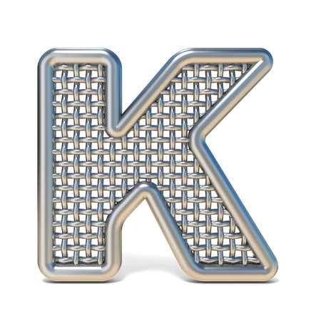 metal mesh: Outlined metal wire mesh font LETTER K 3D render illustration isolated on white background Stock Photo