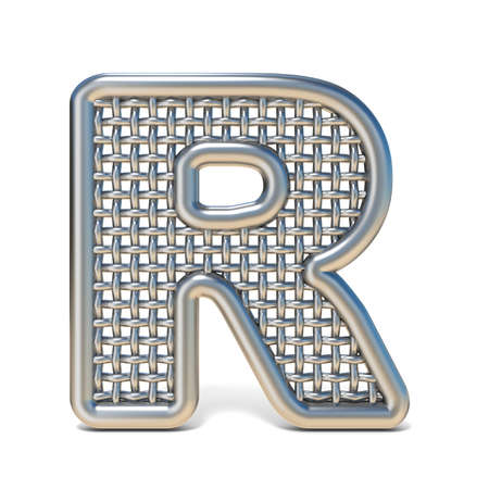 Outlined metal wire mesh font LETTER R 3D render illustration isolated on white background Banco de Imagens