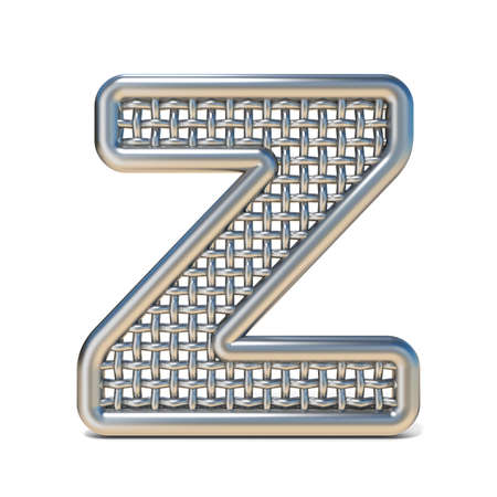 metal mesh: Outlined metal wire mesh font LETTER Z 3D render illustration isolated on white background Stock Photo