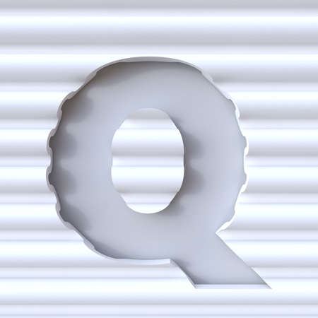 carved letters: Cut out font in wave surface LETTER Q 3D rendering illustration