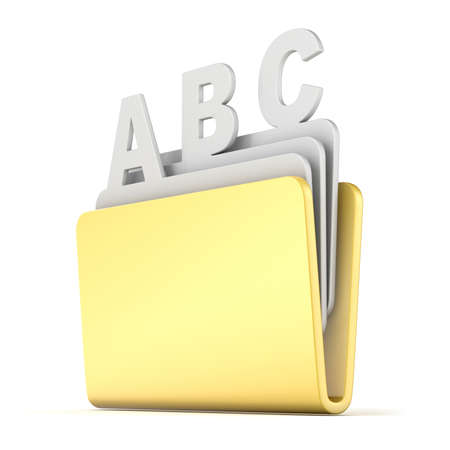 Computer folder with ABC files 3D render illustration isolated on white background Stock Photo