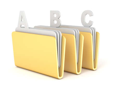 Three computer folder with ABC files 3D render illustration isolated on white background
