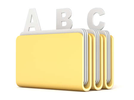 Three computer folders with ABC files 3D render illustration isolated on white background