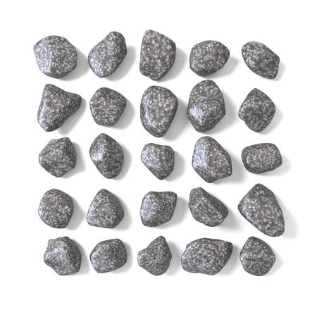 cobble: Abstract array made of rocks 3D render illustration isolated on white background Stock Photo