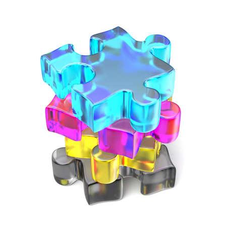 CMYK puzzle arranged 3D render illustration isolated on white background Stock Photo