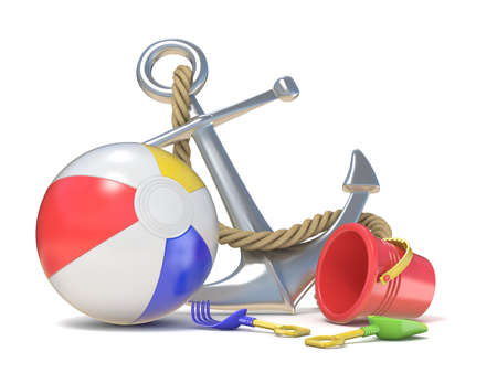 Steel anchor, beach ball and saving belt 3D render illustration isolated on white background