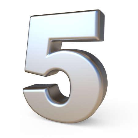 solid background: Metal font NUMBER FIVE 5 3D render illustration isolated on white background