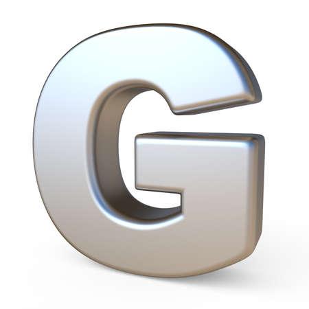 Metal font LETTER G 3D render illustration isolated on white background