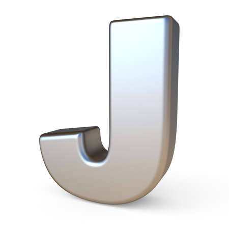 solid background: Metal font LETTER J 3D render illustration isolated on white background