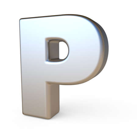 solid background: Metal font LETTER P 3D render illustration isolated on white background Stock Photo