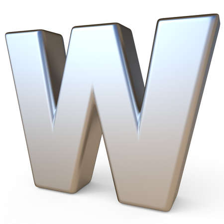 solid background: Metal font LETTER W 3D render illustration isolated on white background Stock Photo