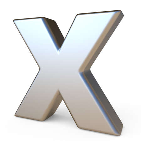 brushed aluminium: Metal font LETTER X 3D render illustration isolated on white background