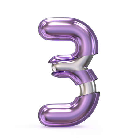 numeric: Purple gem with metal core font NUMBER 3 THREE 3D render illustration isolated on white background