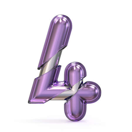 Purple gem with metal core font NUMBER 4 FOUR 3D render illustration isolated on white background
