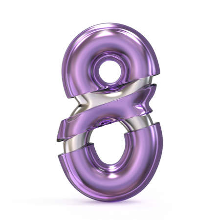 Purple gem with metal core font NUMBER 8 EIGHT 3D render illustration isolated on white background