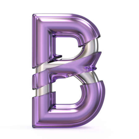 Purple gem with metal core font LETTER B 3D render illustration isolated on white background