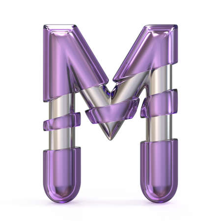 Purple gem with metal core font LETTER M 3D render illustration isolated on white background Stock Photo