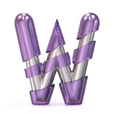 Purple gem with metal core font LETTER W 3D render illustration isolated on white background Stock Photo