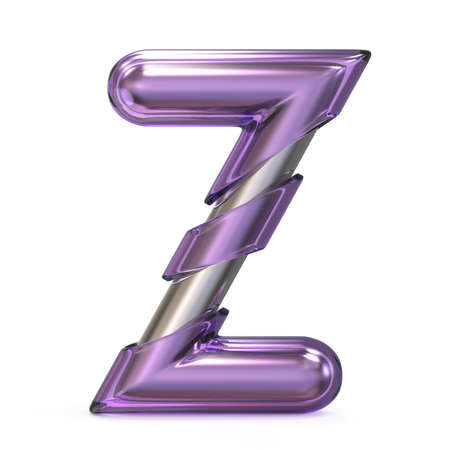 Purple gem with metal core font LETTER Z 3D render illustration isolated on white background Stock Photo