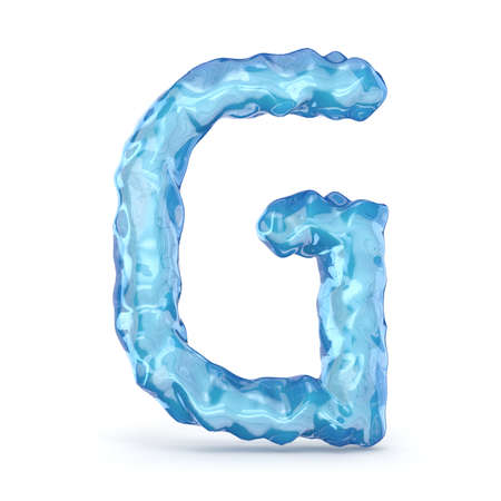 Ice font letter G 3D render illustration isolated on white background