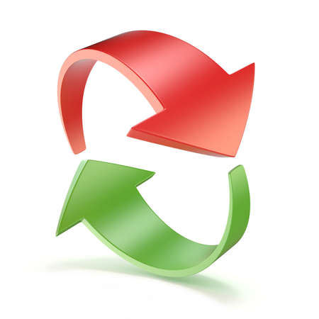 two: Red and green arrows circle 3D render illustration isolated on white background
