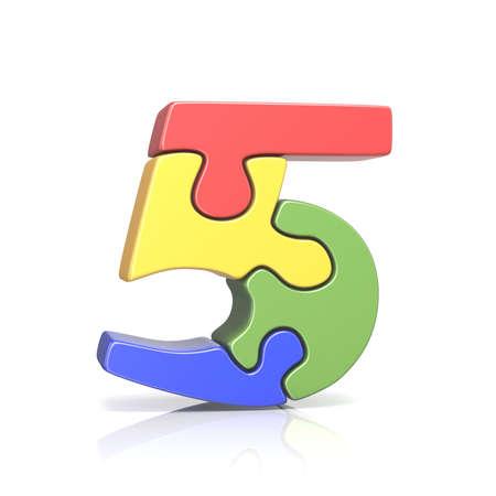 Puzzel figuurzaag nummer Vijf 5 3D render illustratie geïsoleerd op een witte achtergrond