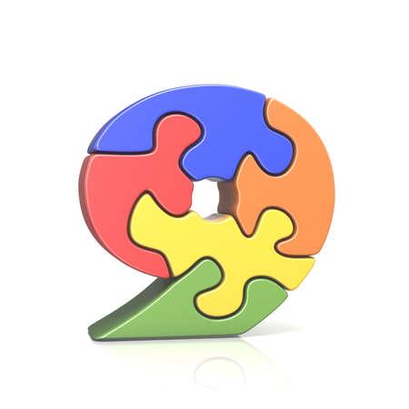 Puzzle jigsaw number NINE 9 3D render illustration isolated on white background Stock Photo