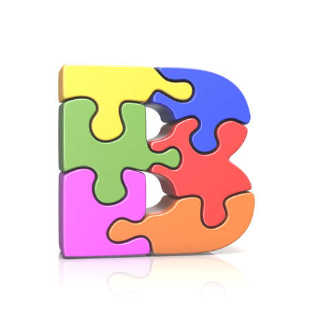 Puzzle jigsaw letter B 3D render illustration isolated on white background Stock Photo