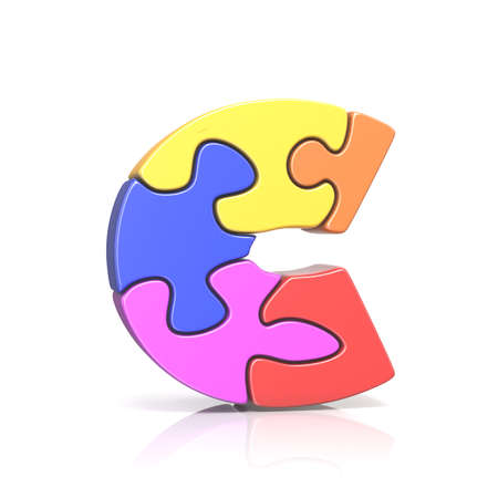 Puzzle jigsaw letter C 3D render illustration isolated on white background