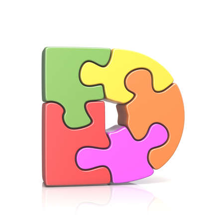 Puzzle jigsaw letter D 3D render illustration isolated on white background Stock Photo