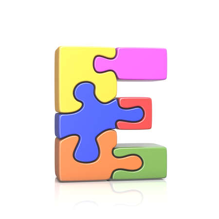 Puzzle jigsaw letter E 3D render illustration isolated on white background Reklamní fotografie