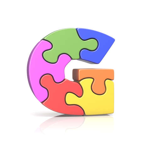Puzzle jigsaw letter G 3D render illustration isolated on white background