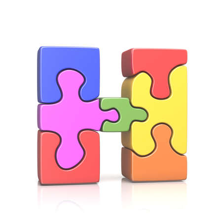 Puzzle jigsaw letter H 3D render illustration isolated on white background Stock Photo