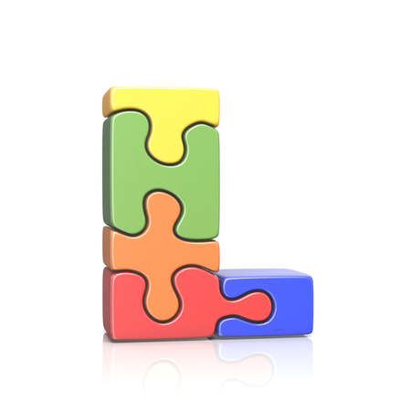 Puzzle jigsaw letter L 3D render illustration isolated on white background