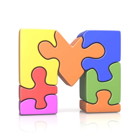 Puzzle jigsaw letter M 3D render illustration isolated on white background