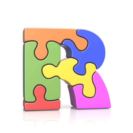 Puzzle jigsaw letter R 3D render illustration isolated on white background